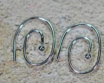 silver plated swirl earring, 15mm, #607