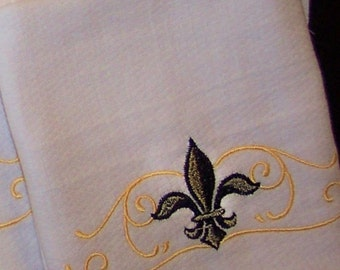 "Towels for Kitchen, featuring Elegant Black/Gold Fleur de Lis Embroidery Design, Absorbent Birdseye Cloth, 16"" x 26-1/12"""