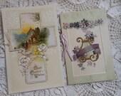 2 Easter Booklet Postcards Victorian Violets Vintage at Quilted Nest