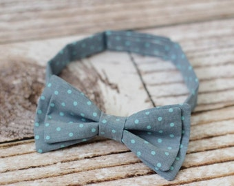 Boys bow tie - bowtie - youth - child - adjustable strap - chambray - blue - mint - denim - dots - modern - pre-tied - wedding - boys