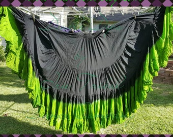 25yd Hand Dyed Jet Black  ro Sour Apple ruffle 25yd skirt