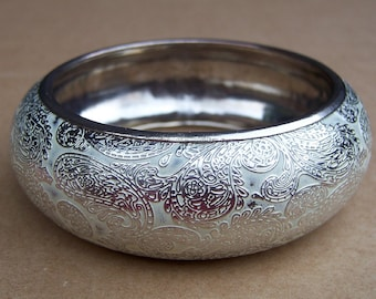 Vintage bangle bracelet engraved silver tone metal ethnic jewelry designer bracelet (100)