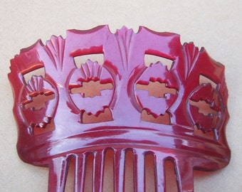 Red Dyed Steer Horn Hair Comb Victorian Comb Spanish Mantilla Hair Accessory Hair Jewelry Decorative Comb