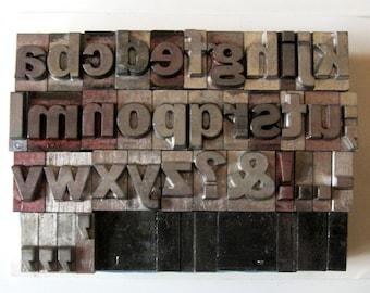 Vintage Metal Letterpress Med Lg Lowercase Alphabet A thru Z Complete