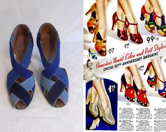 Without A Word of Warning - Vintage 1930s Rare Multi Blue Nubuck Leather Deco Criss Cross Shoe Pump Heels - 6/6.5