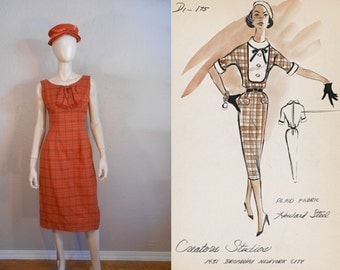 All Set For Autumn - Vintage 1950s Orange Plaid Sheath Wiggle Dress w/Bow Front - 2/4