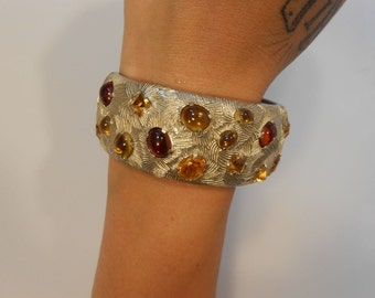 Bursting Forth in Autumn - Vintage 1950s Castlecliff Gold Tone Clamper Bracelet w/Amber & Golden Wheat Cabochons