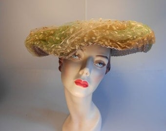 Leaf Trails in Paris - Early 1950 Evelyn Varon Topaz Straw Cartwheel Platter Wide Brim Hat w/Autumn Speckled Ombre Mesh Netting