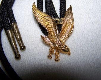 Detailed Gold Carved Eagle with Nylon Bolo Tie