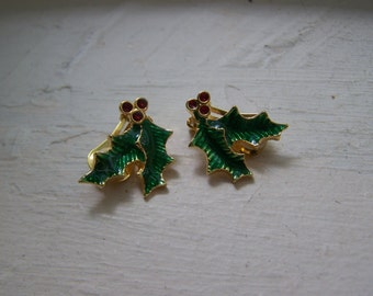 CLEARANCE Gold Holly Clip Holiday Earrings