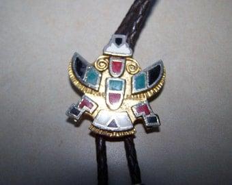 Native American Design Gold Enamel Bolo Tie