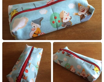 Seven Dwarves (Snow White) themed pencil case or make up bag - handmade fandom fabric