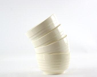 White Ribbed Bowl, Vintage Cereal Bowls, Vintage Mixing Bowls, USA Pottery Bowl, Kitchen Bowl Set