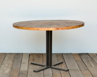 Round Dining Table with reclaimed wood top and steel legs in your choice of color, size/finish. 4 Prong Standard Base height 30""