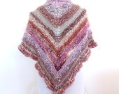 Pink knit shawl Pink Knit Cape  Triangle knit Shawl   Hand knitted wrap  Pink Shawl