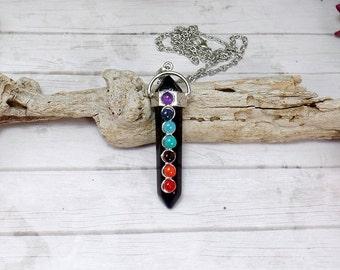 Black Agate Chakra Necklace, 7 Chakra Necklace, Agate Point Necklace