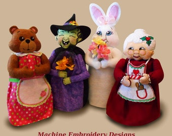 Gift Jar Toppers Sew-in-the-Hoop Machine Embroidery Designs