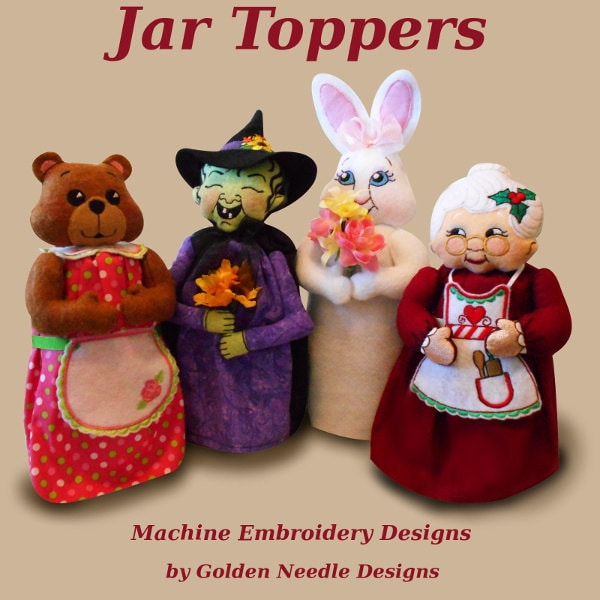 Gift jar toppers sew in the hoop machine embroidery designs