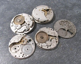 Watch Parts VINTAGE Gears Jewels Five (5) Watch Guts Mechanical Movements Gears Plates Gears Watch Repair Jewelry Assemblage Supplies (S264)