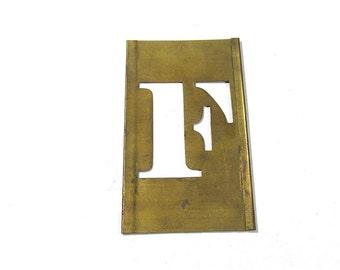 "1 1/2"" Letter F Brass Stencil VINTAGE Letter F Scrapbooking Altered Art Assemblage Mixed Media Art Supplies Brass Stencil Letter F (S298)"
