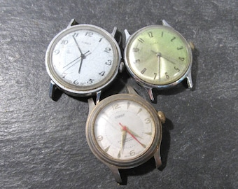 Watches for Parts or Repair Three (3) Watches Mechanical Movements Gears Jewels Face Plates Crystals Timex Jewelry Art Supplies (N130)