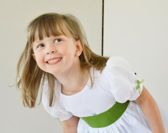 CLEARANCE Girls Dress, Christmas, white, green, classic, snow, twirl skirt - 4T ready to ship