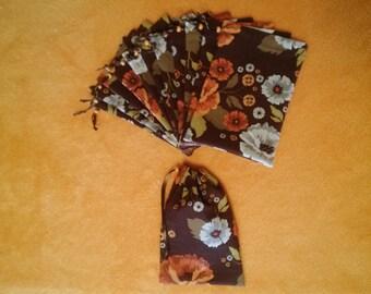 cotton decorator fabric 4 x 6 drawstring bags 12 bags