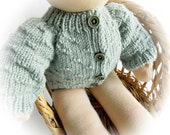 Handknitted Cardigan for 16 Inch Waldorf Dolls...Textured Stitch Sweater in Sage Green Merino Yarn