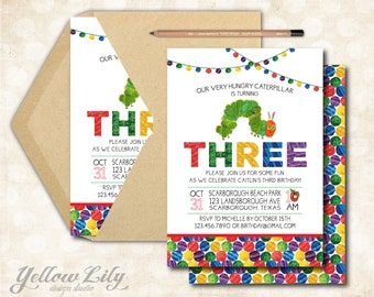Very Hungry Caterpillar Birthday Invitation - DIY Party Printable  / Third Birthday / Hungry Caterpillar /
