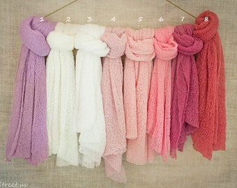 Many Colors Newborn Wrap, Newborn Stretch Wrap, Knit Wrap, Girl Props, Newborn Props, Baby Props, RTS, Pink, Ivory, Purple, Cocoon Wraps