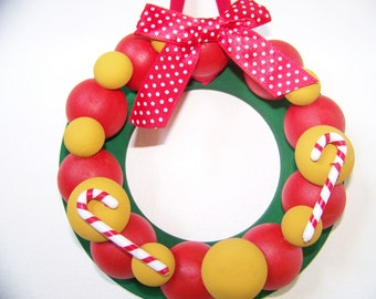 Holiday Mini Wreath of Wooden Balls - Home Decor - Red & Gold Wood Balls on Green Base with Candy Canes - Hand Painted Original - 6 inches
