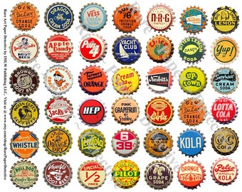 Soda Bottle Caps - Printed Sheet, 42 Pop Bottle Caps Clip Art, Paper Kitchen Collage Embellishment, Cola Bottle Antique Cap Collection, 242a