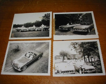 Vintage MG Convertible Snapshot Lot/4 Circa 1963 Old MG Black and White Photo Lot Vintage Auto Photographs