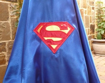 SuperGirl Cape -Blue Cape  -Red Yellow Emblem