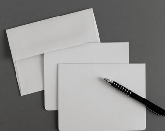 Soft Gray Cotton Stationary Set Blank Boxed Notecards