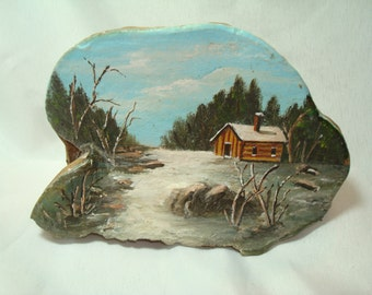 1980s Hand Painted winter Cabin Scene on a Tree Growth Bark.