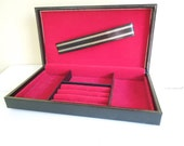 Vintage Black Leather Valet Box, Men's Jewelry Box, Red Interior, by Swank