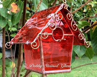 Stained Glass Birdhouse - Orange with Copper Swirls
