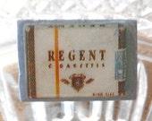 Vintage Wood Cigarette Button, Circa 1942, Rare Button, Regent Cigarette Pack, Metal Loop shank, Wood Button,  WWII Era, Gift For Him