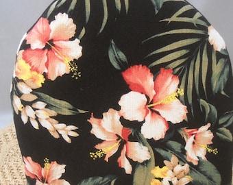 Tea Cozy Tropical Barkcloth Hibiscus Botanicals Black