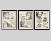 Any 3 Historical Biographies, Set of 3, Vintage Art Print Set, History Print, Science Art, Literary Print, Black and White Art, Office Decor