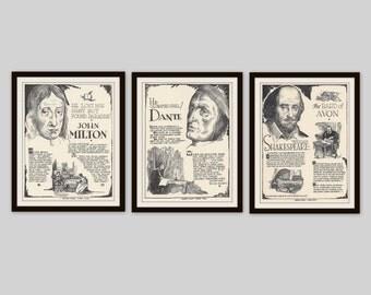 Any 3 Historical Biographies, Set of 3, Vintage Art Print Set, History Print, Science Art, Literary Print, Black and White Art, Office Decor
