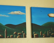 """Diptych Sci-Fi Landscape with Blimp Acrylic Paintings, """"Mario's World,"""" TWO 8x10 paintings - FREE Shipping USA"""