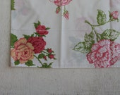 Vintage Pillowcase with Roses // Queen Size