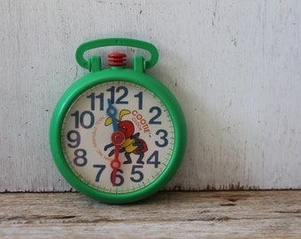Vintage Cootie Clock // Play & Learn Clock // Kusan