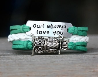 Hand Stamped  bracelet  Owl Always Love You