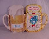 Old Style Beer Table Top Advertising Sign Die Cut Card Stock Mug