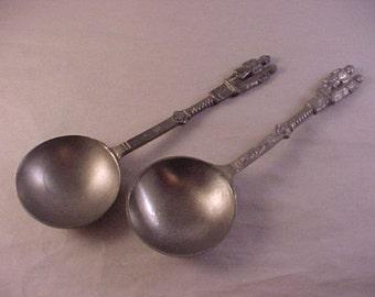 2 Pewter Spoons Rein Zinn Figural