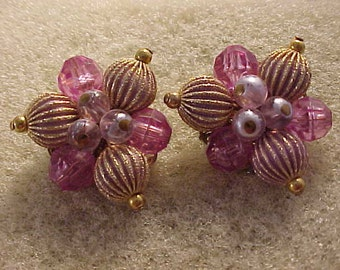 Cluster Bead Clip On Earrings