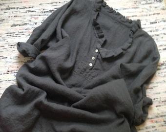 Washable Linen Long Dress Dark Gray Linen Nightdress  Prairie Dress Lagenlook MADE TO ORDER One Size